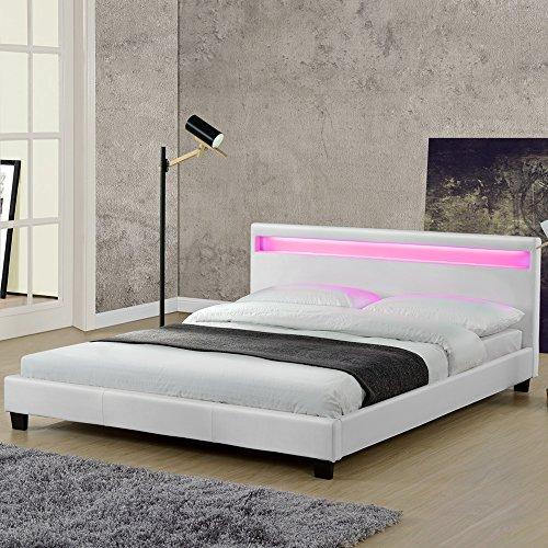 Juskys Polsterbett Paris 140 X 200 Cm Weiß Bettgestell Mit Led Beleuchtung Lattenrost Kopfteil Kunstleder Holz Weiß Bett Jugendbett